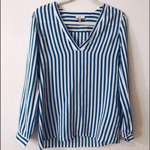 Joie Blue Pin-strip Blouse